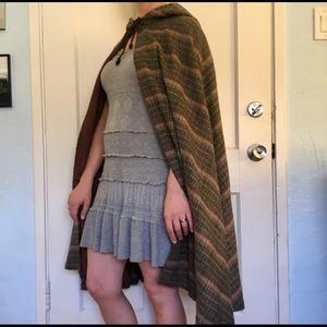 Jackets & Blazers - Vintage Hooded Cloak Plaid Wool Lined Cape